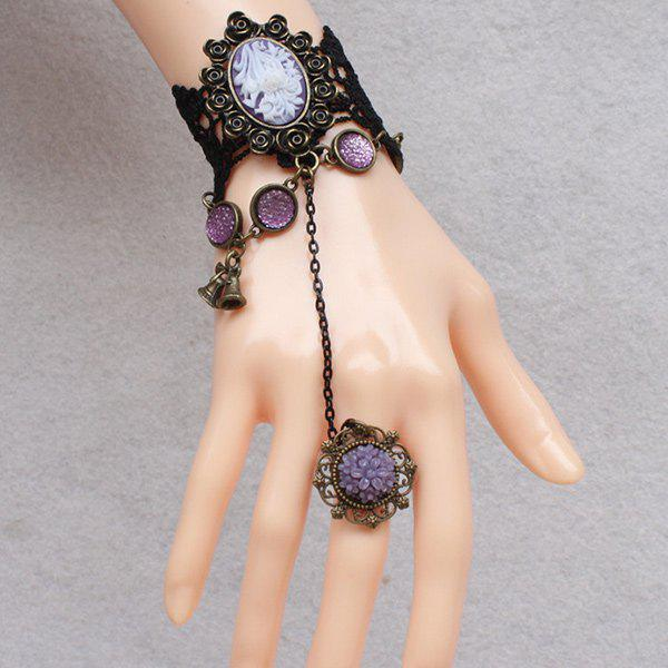 Elegant Faux Gem Lace Cameo Bracelet with Ring For Women