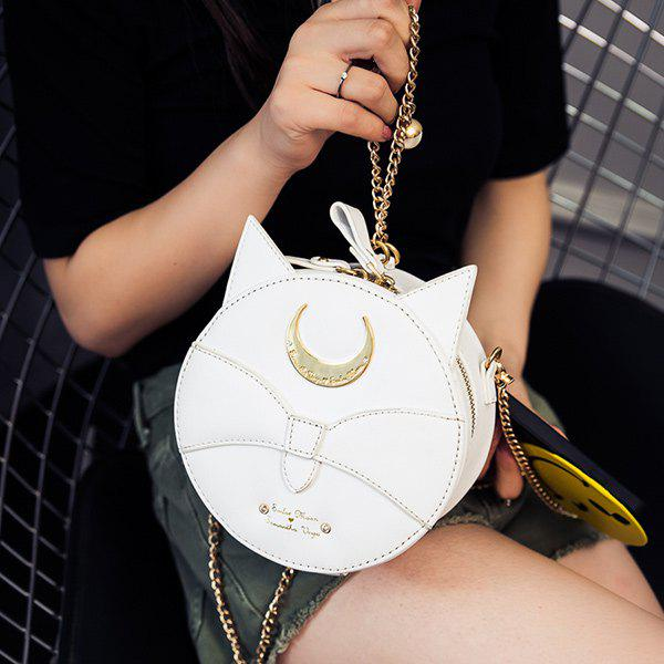 Sweet Zip and Chain Design Women's Crossbody Bag - WHITE