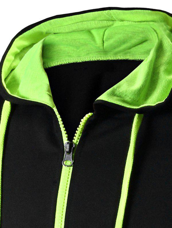 Color Block Letter Print Zip-Up Hooded Men's Waistcoat - GREEN 2XL