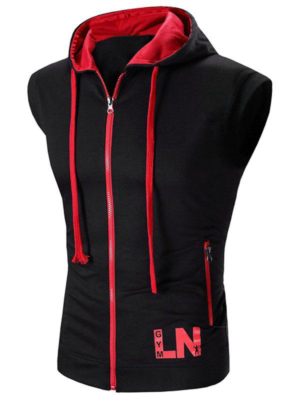 Color Block Letter Print Zip-Up Hooded Men's Waistcoat - RED L
