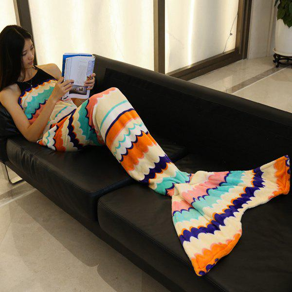 Fashion Sea Wave Stripe Pattern Mermaid Tail Style Casual Soft Blanket - BEIGE L
