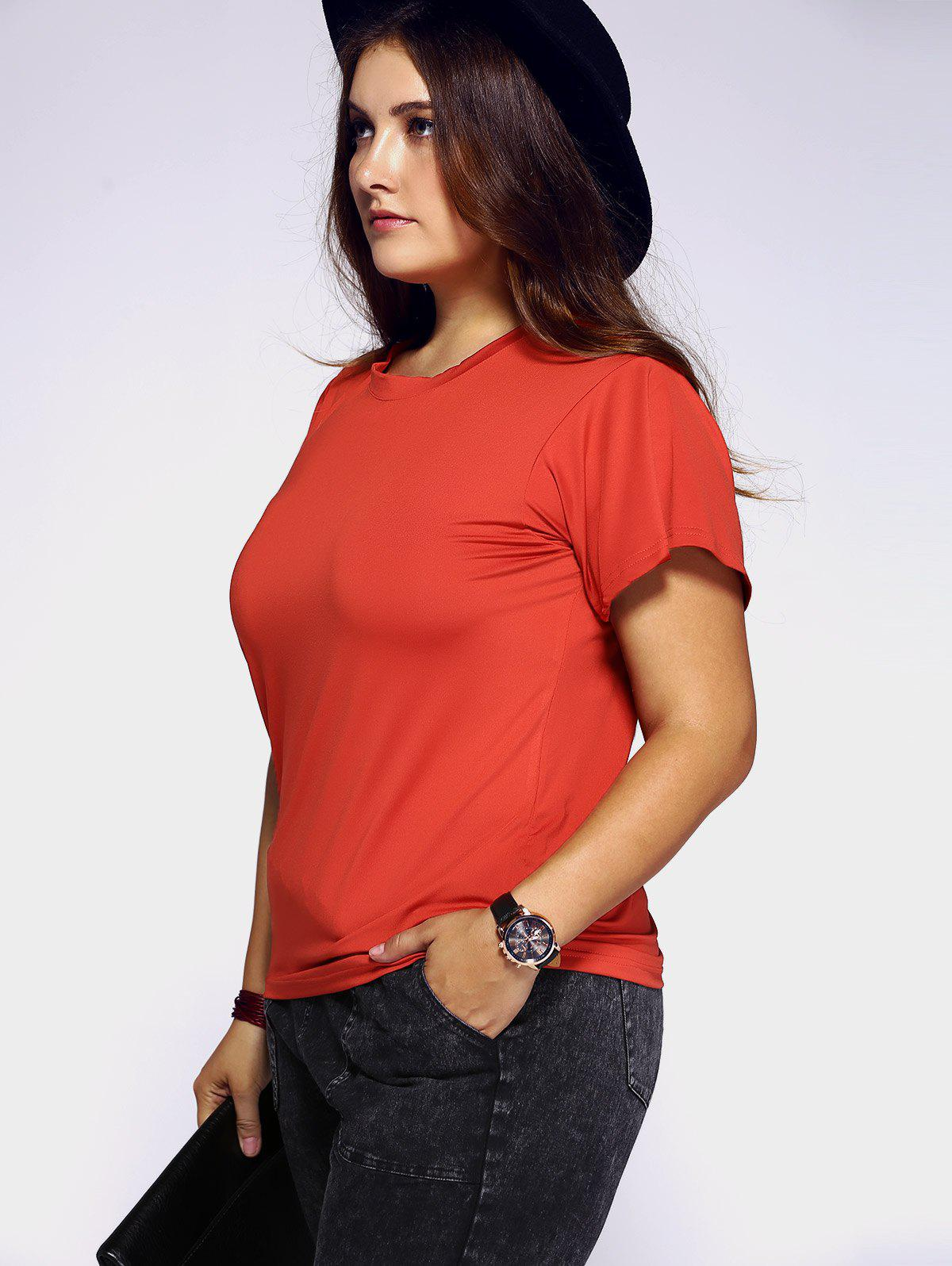 Plus Size Draped Sleeve T-Shirt - BRICK RED 2XL