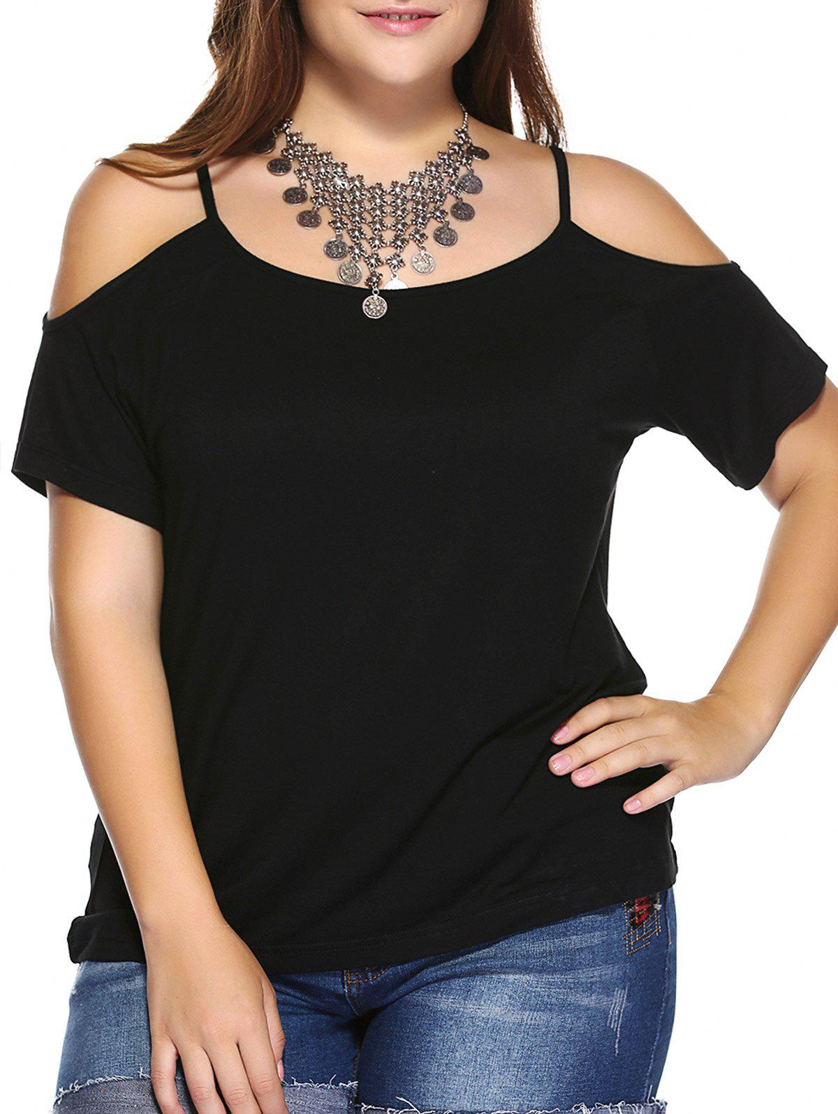 Plus Size Dew Shoulder T-Shirt - BLACK 5XL