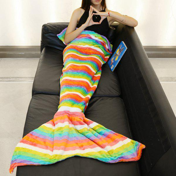 Fashion Colorful Rainbow Stripes Pattern Casual Style Soft Mermaid Tail Blanket - COLORFUL L