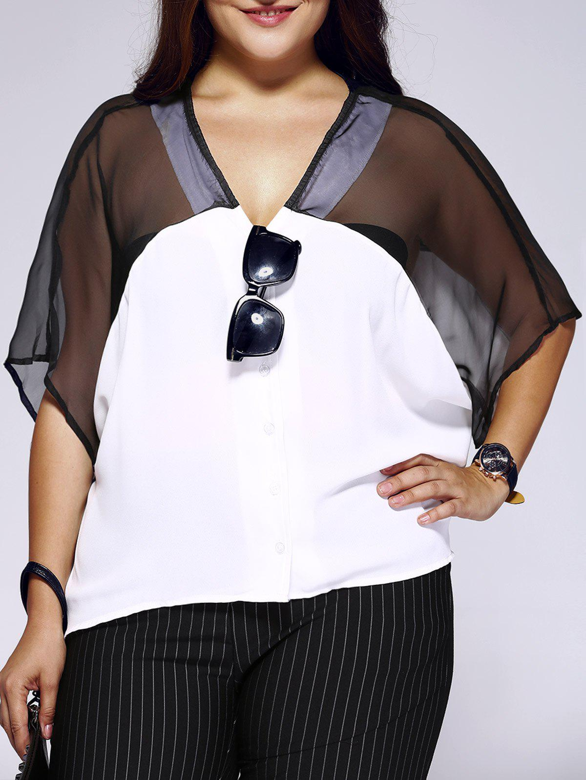 Chic Plus Size See-Through Color Block Chiffon Blouse - WHITE 5XL