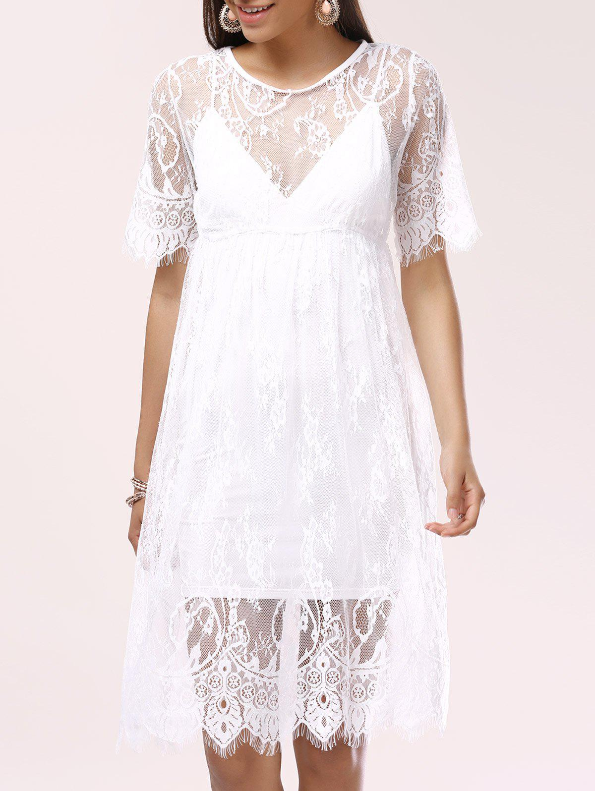 Charming See-Through Lace Women's Cover-Up - WHITE ONE SIZE