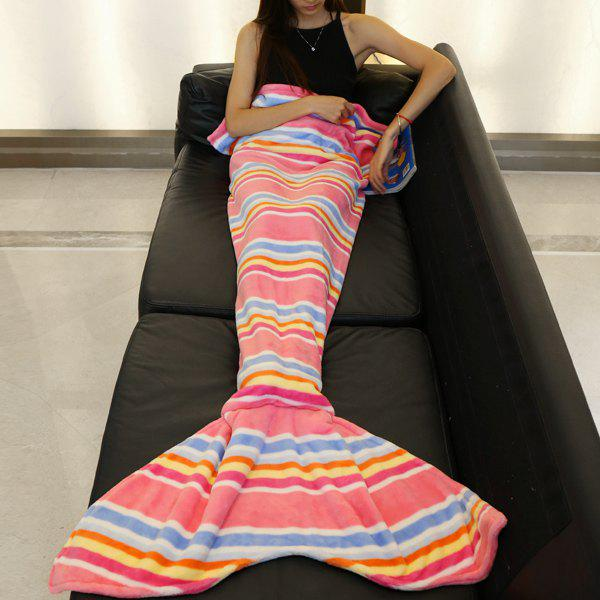 Fashion Various Stripes Pattern Mermaid Tail Style Sweet Soft Blanket - PINK L