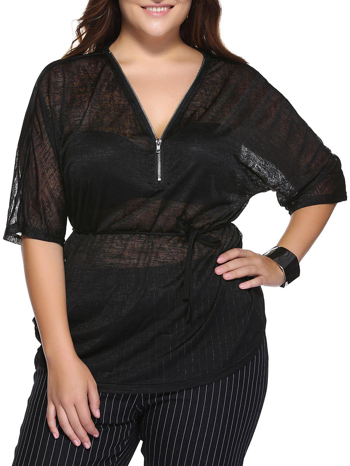 Stylish Plus Size V Neck Zippered Black T-Shirt - BLACK 3XL