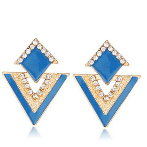 Pair of Graceful Glaze Rhinestone Triangle Earrings For Women - BLUE