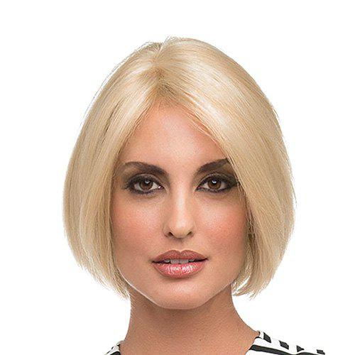 Bob Style Straight Blonde Synthetic Side Parting Capless Women's Short Wig - LIGHT GOLD