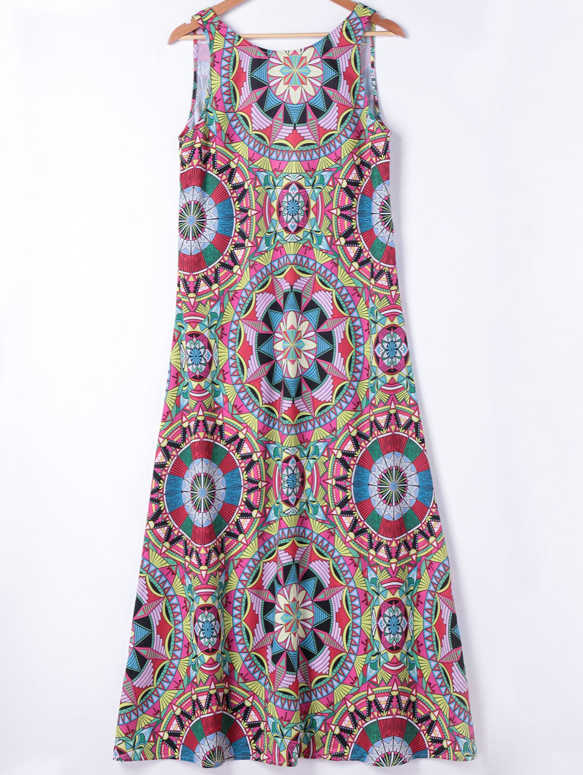 Ethnic Style Womens's Slimming Round Neck A-Line Dress - COLORMIX L