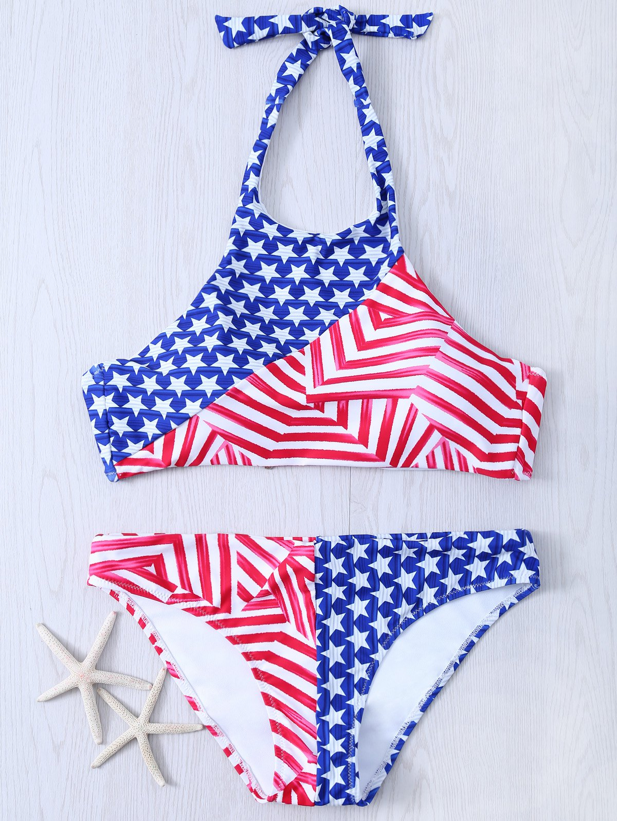 Halter Neck Flag Print Women's Bikini Set - BLUE/RED 2XL