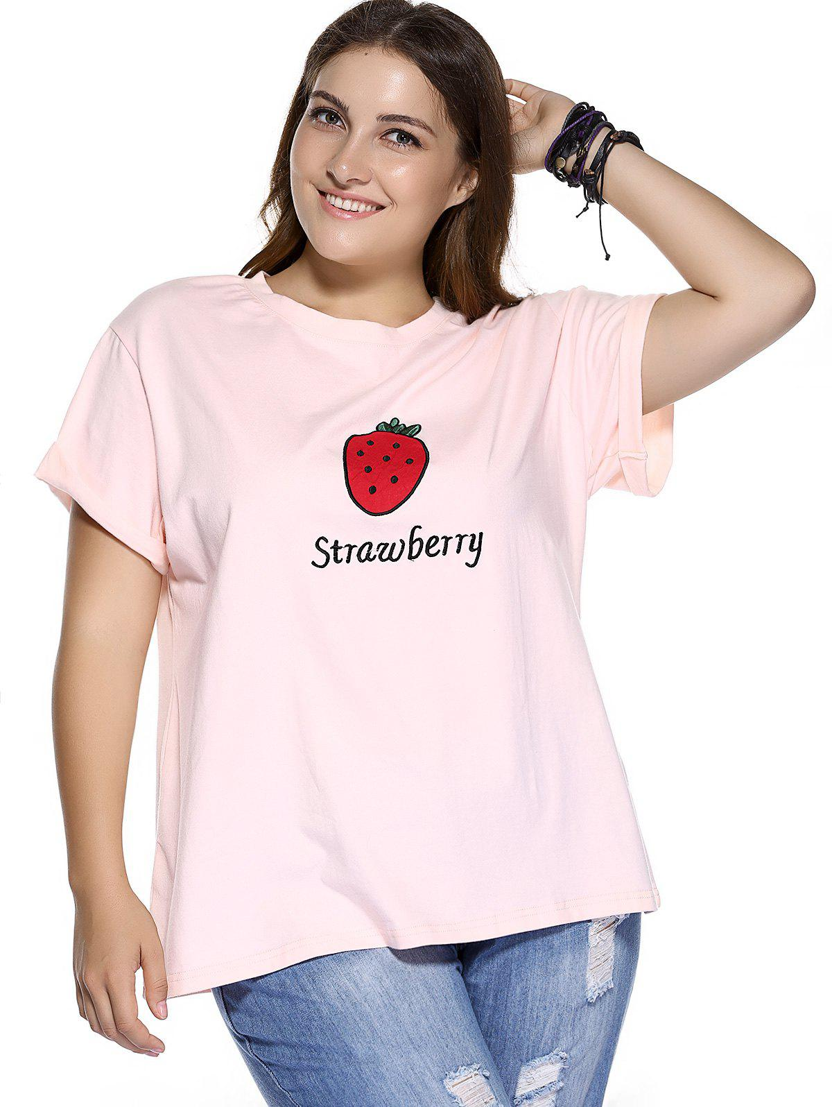 Casual Plus Size Strawberry Pattern Embroidered T-Shirt - LIGHT PINK 3XL