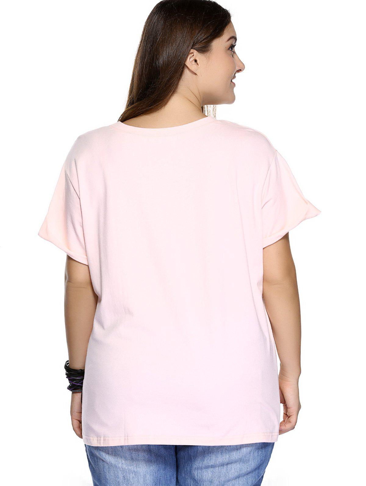 Casual Plus Size Strawberry Pattern Embroidered T-Shirt - LIGHT PINK 2XL