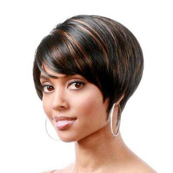 Spiffy Side Bang Synthetic Short Pixie Haircut Black Brown Mixed Wig For Women - BLACK/BROWN
