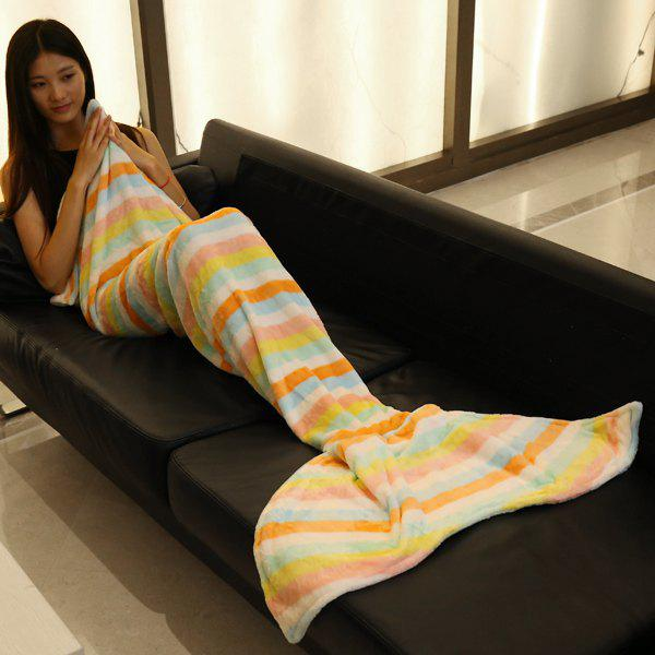 Fashion Light Color Stripe Pattern Mermaid Tail Style Casual Soft Blanket - LIGHT PINK L