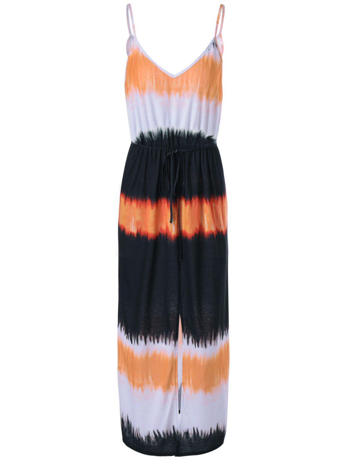 Women's Stylish Condole Belt Tie-Dye Side Slit Dress - COLORMIX XL