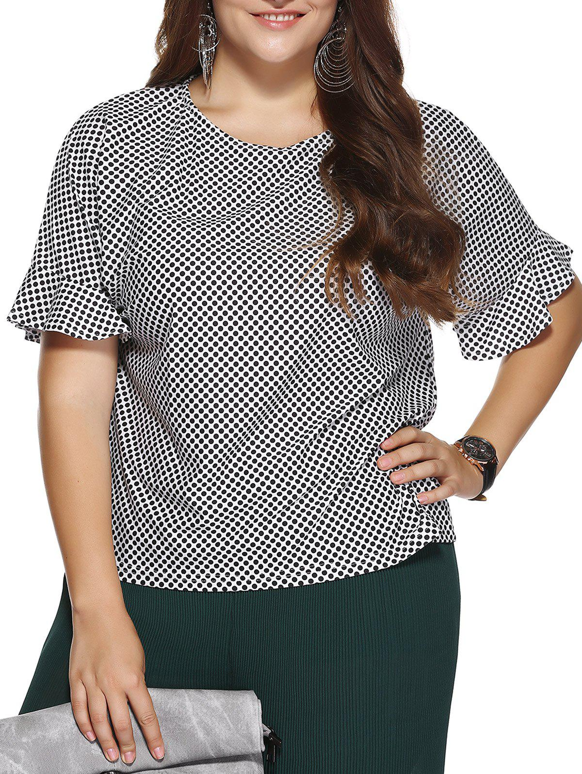 Chic Plus Size Polka Dot Print Flounced Sleeve Blouse - WHITE/BLACK 2XL