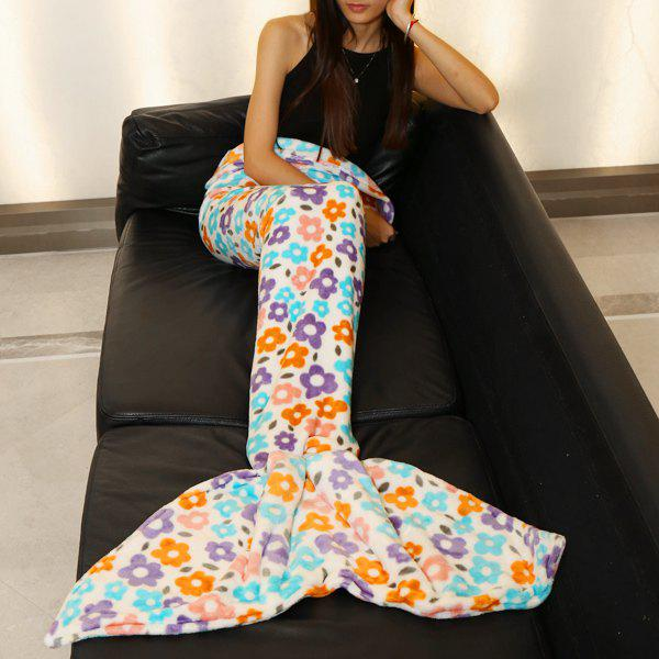 Fashion Scrawl Flowers Pattern Mermaid Tail Style Casual Soft Blanket