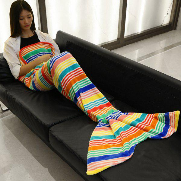 Fashion Colorful Slender Stripe Pattern Mermaid Tail Style Casual Soft Blanket - BLUE S