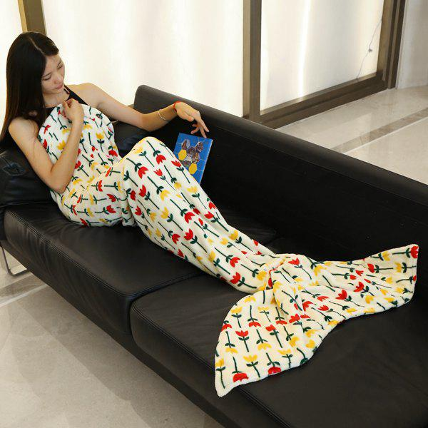 Fashion Simple Flowers Pattern Mermaid Tail Style Casual Soft Blanket - OFF WHITE L