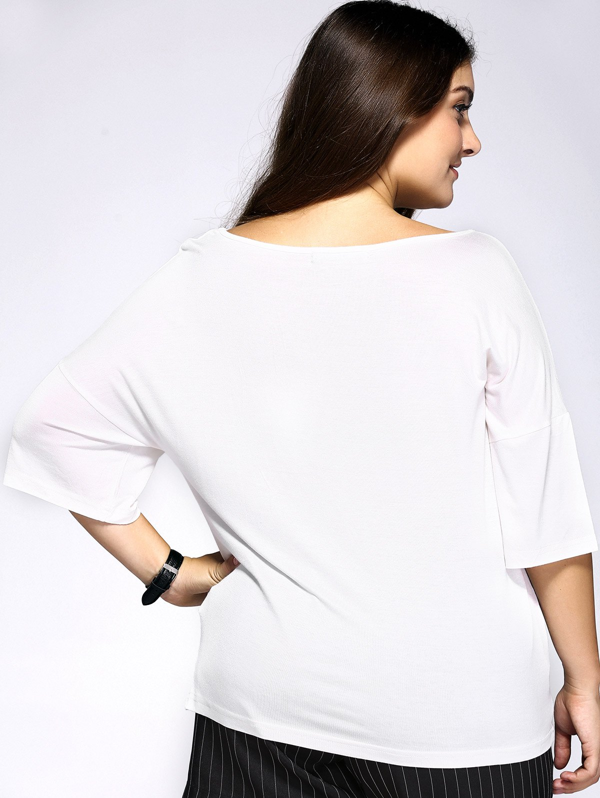 Casual Plus Size Arrows Print Loose Fitting T-Shirt - WHITE 4XL