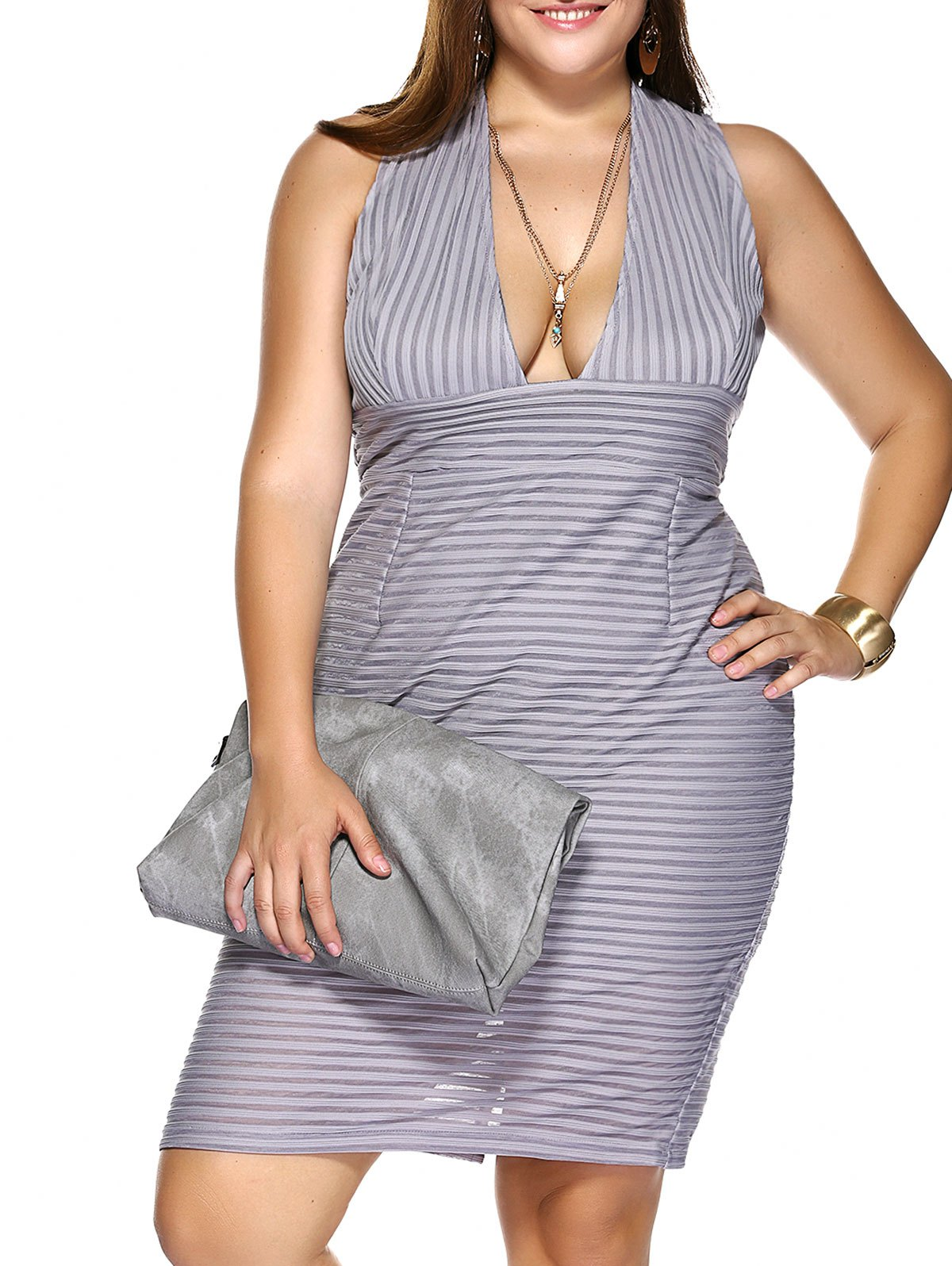 Plus Size Plunging Neck Striped Empire Waist Formal Dress - GRAY 5XL