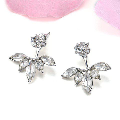 Pair of Flower Embellished Rhinestone Earrings - SILVER