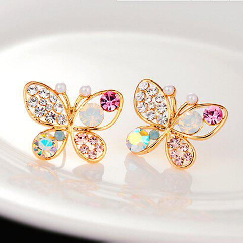 Pair of Rhinestone Faux Pearl Butterfly Earrings - GOLDEN