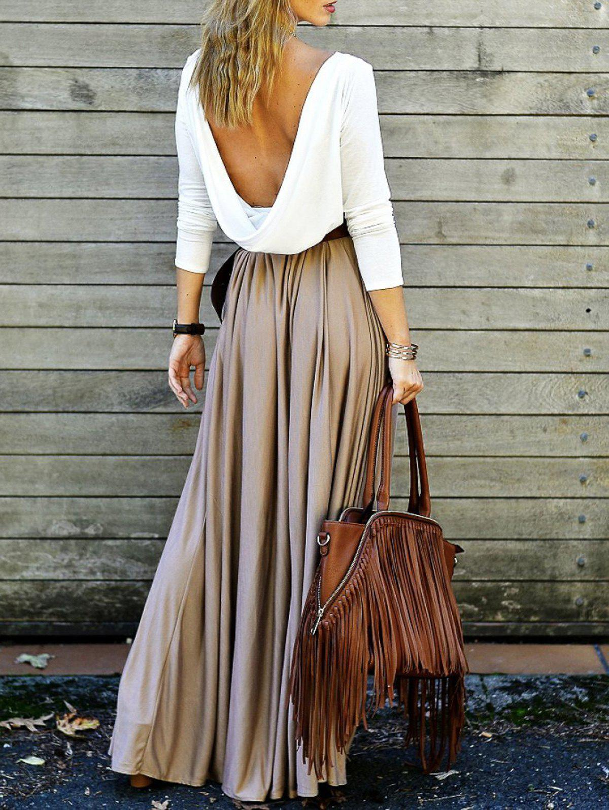 Long Sleeve Draped Open Back Maxi Dress - XL KHAKI