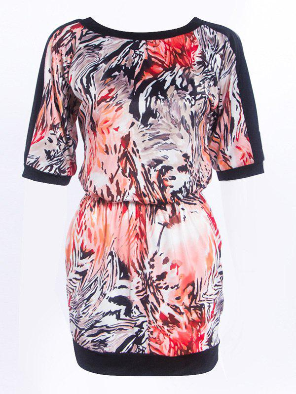 Fashionable Round Neck Printed Splicing Womens DressWomen<br><br><br>Size: S<br>Color: BLACK