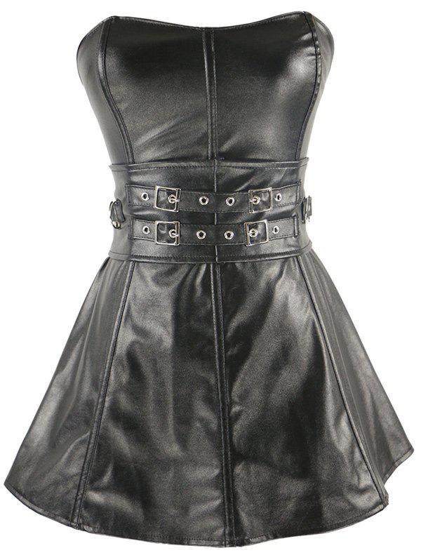Short Strapless Belts Design Ruffles Corset Dress - SILVER/BLACK 2XL
