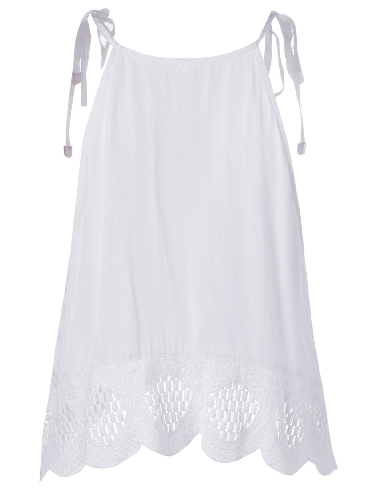 Femmes Style Ethnique  's Minceur Spaghetti Strap Lace-up Top - Blanc M