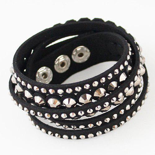 Vintage Layered Faux Leather Rhinestone Bracelet For Women