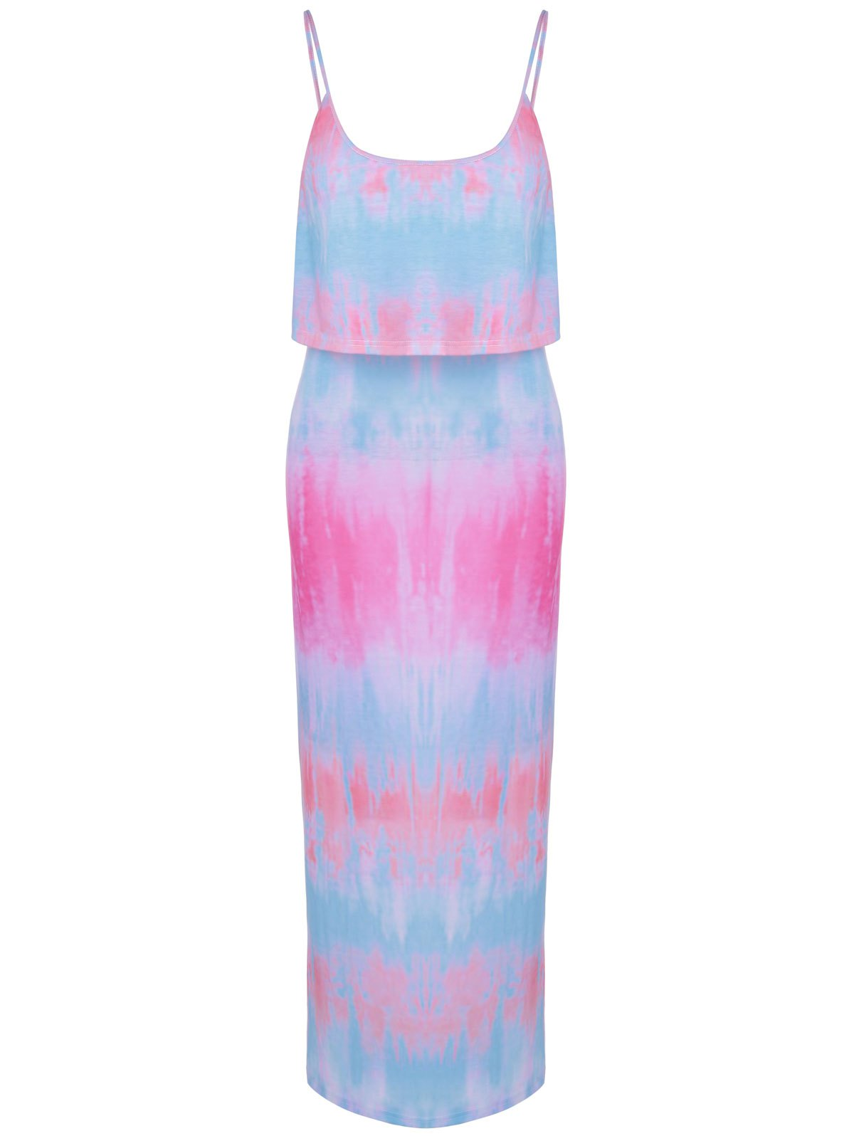 Fashionable Tie-Dyed Flounce Spaghetti Strap Faux Twinset Design Dress For Women fashionable bare midriff design sleeveless faux twinset dress for women