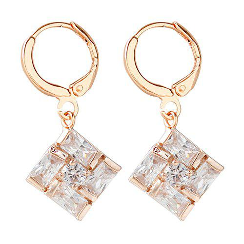 Pair of Square Faux Crystal Drop Earrings - WHITE/GOLDEN