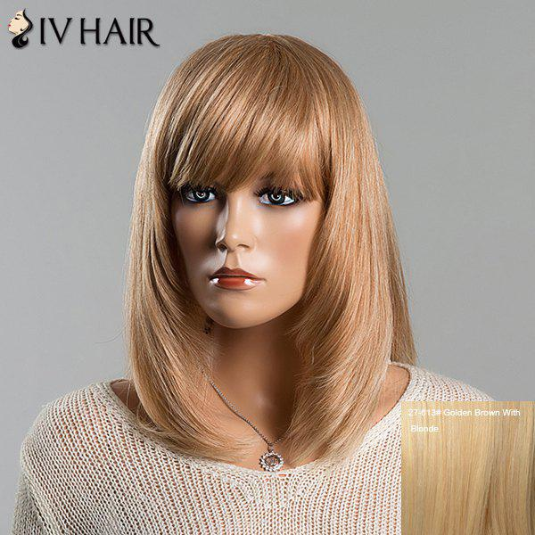 Stylish Straight Medium Human Hair Full Bang Siv Hair Capless Wig For Women - GOLDEN BROWN/BLONDE