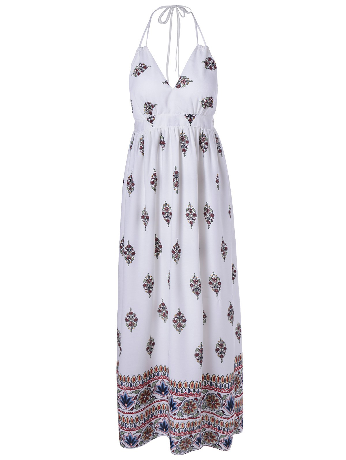 Elegant Women's Halter Backless Printing Dress - WHITE S