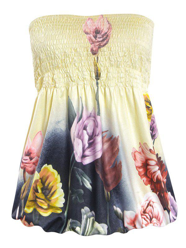 Alluring Strapless Floral Print Slimming Women's Tube Top