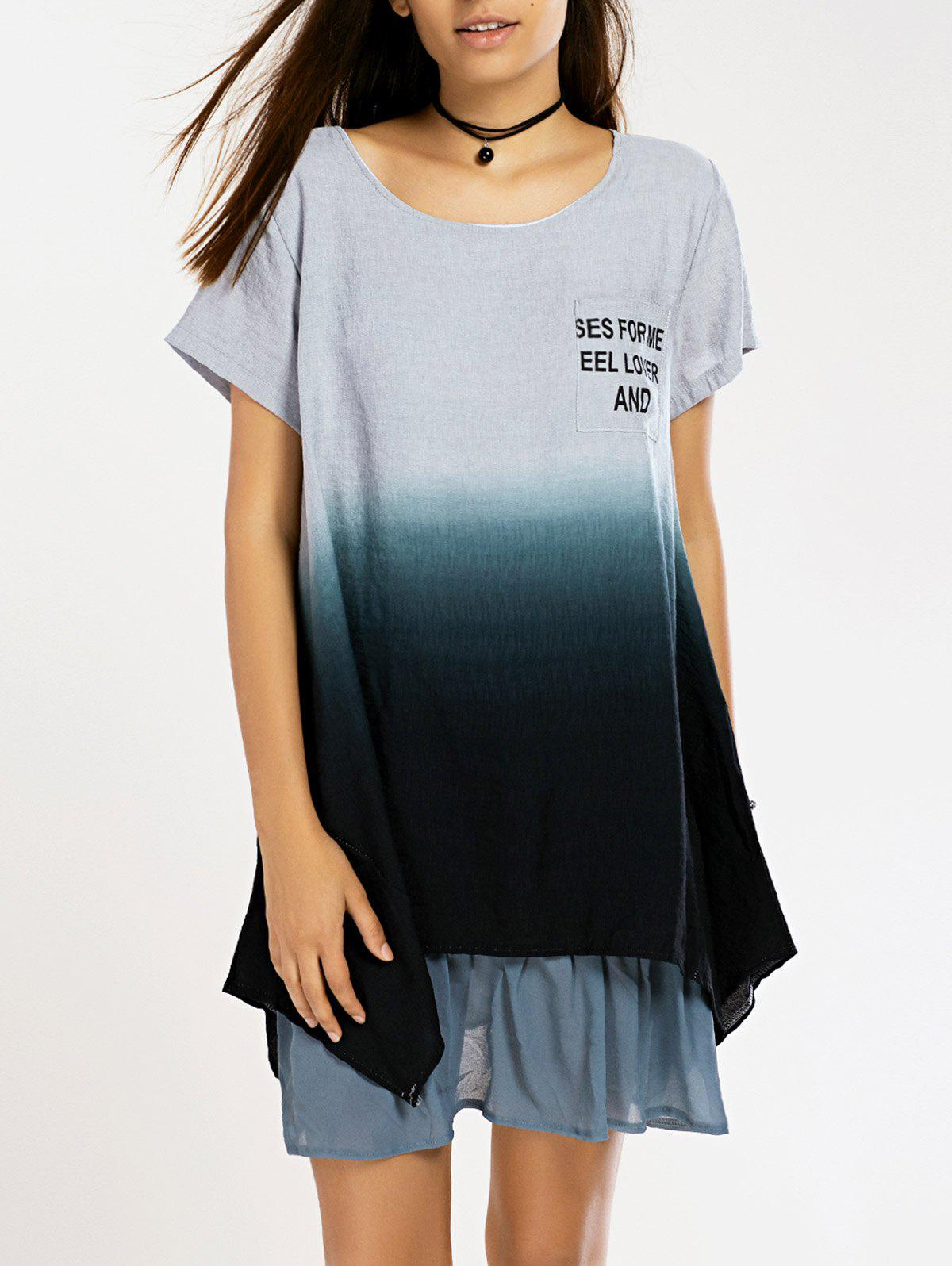 Casual Asymmetrical Pleated Ombre Women's Dress - GRAY ONE SIZE