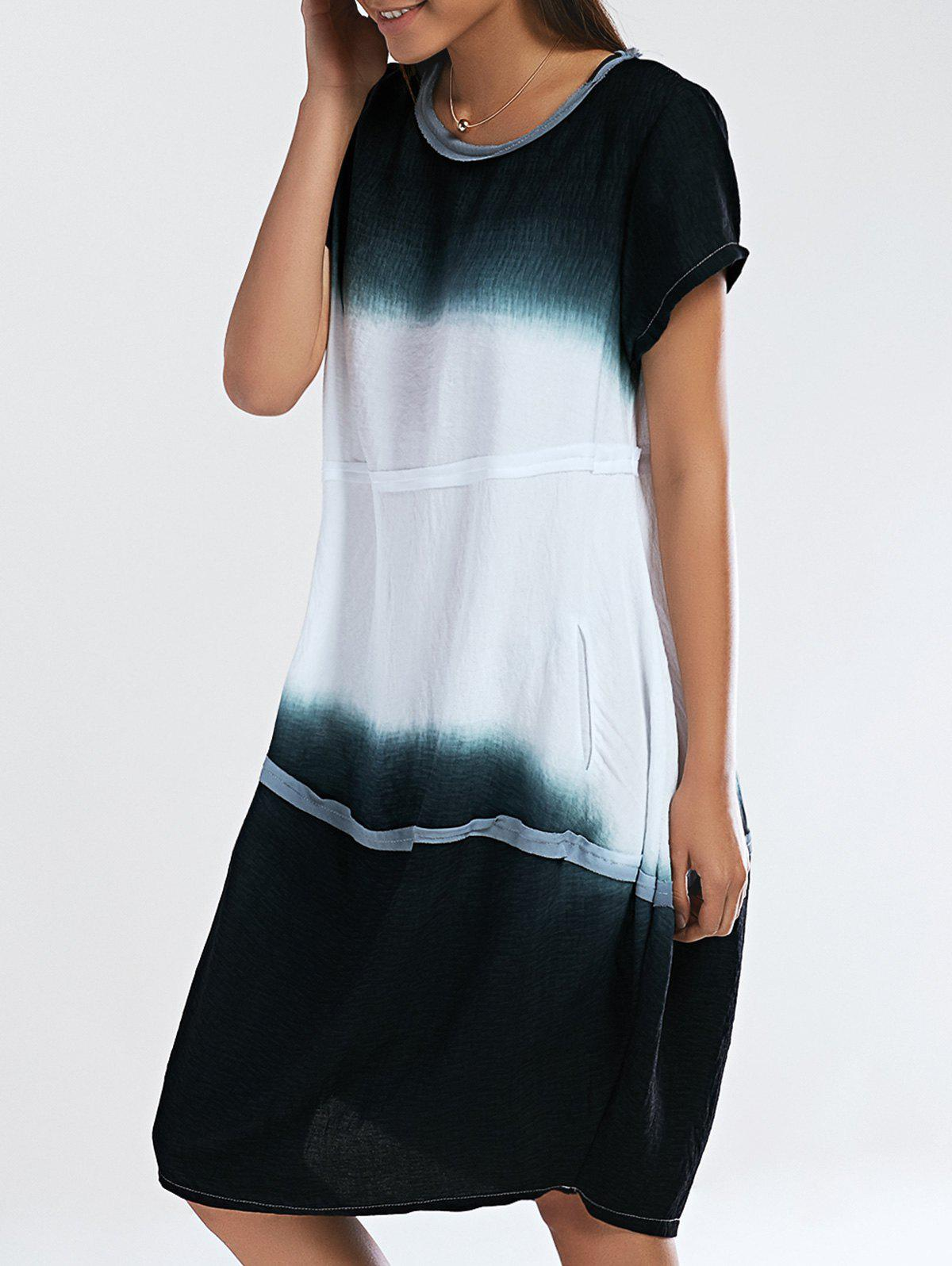 Loose Fitting Ombre Round Neck Women's Dress - DEEP GREEN ONE SIZE