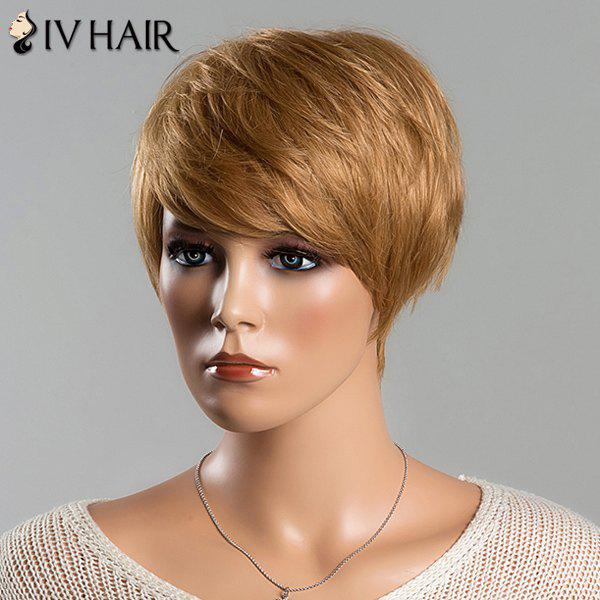 Noble Side Bang Siv Hair Capless Short Straight Layered Women's Human Hair Wig - DARK ASH BLONDE