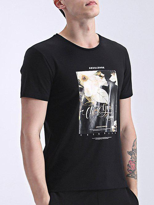 Men's Refreshing Round Neck Flower Print Short Sleeves T-Shirt - BLACK XL