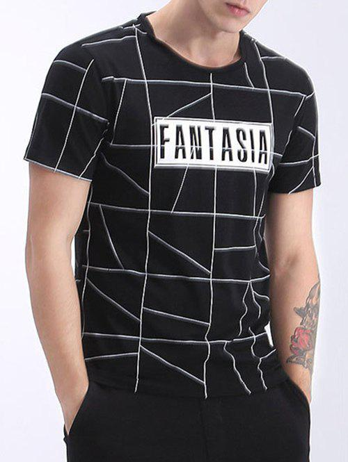 Men's Refreshing Round Neck Stripes Print Short Sleeves T-Shirt - BLACK 2XL