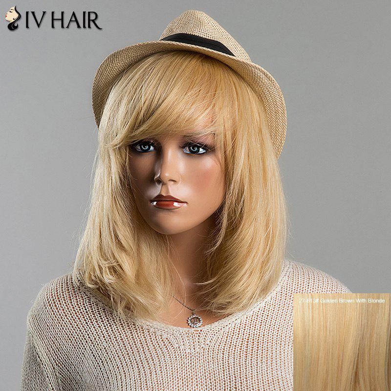 Trendy Straight Full Bang Siv Hair Medium Women's Human Hair Wig - GOLDEN BROWN/BLONDE