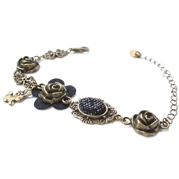 Rabbit Flower Shape Charm Bracelet - BRONZE COLORED