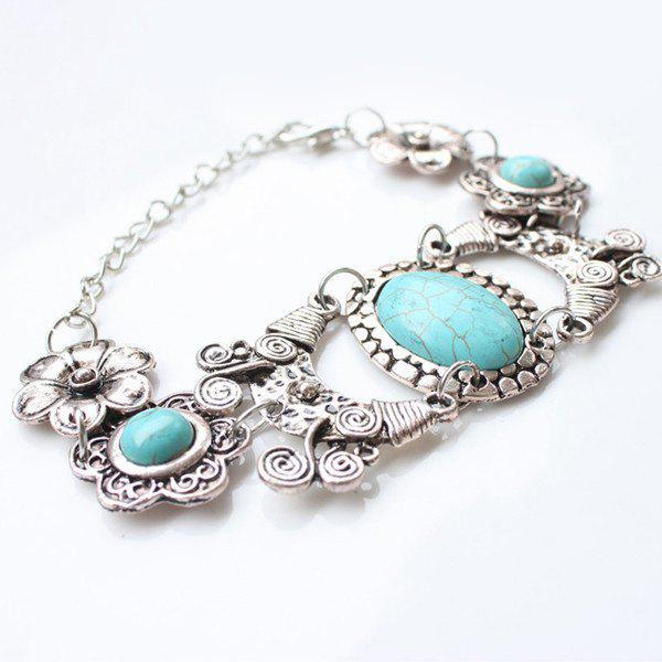 Graceful Faux Turquoise Floral Bracelet For Women