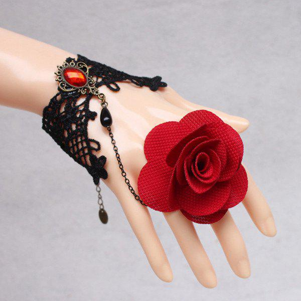 Chic Faux Gem Floral Bracelet With Ring For Women
