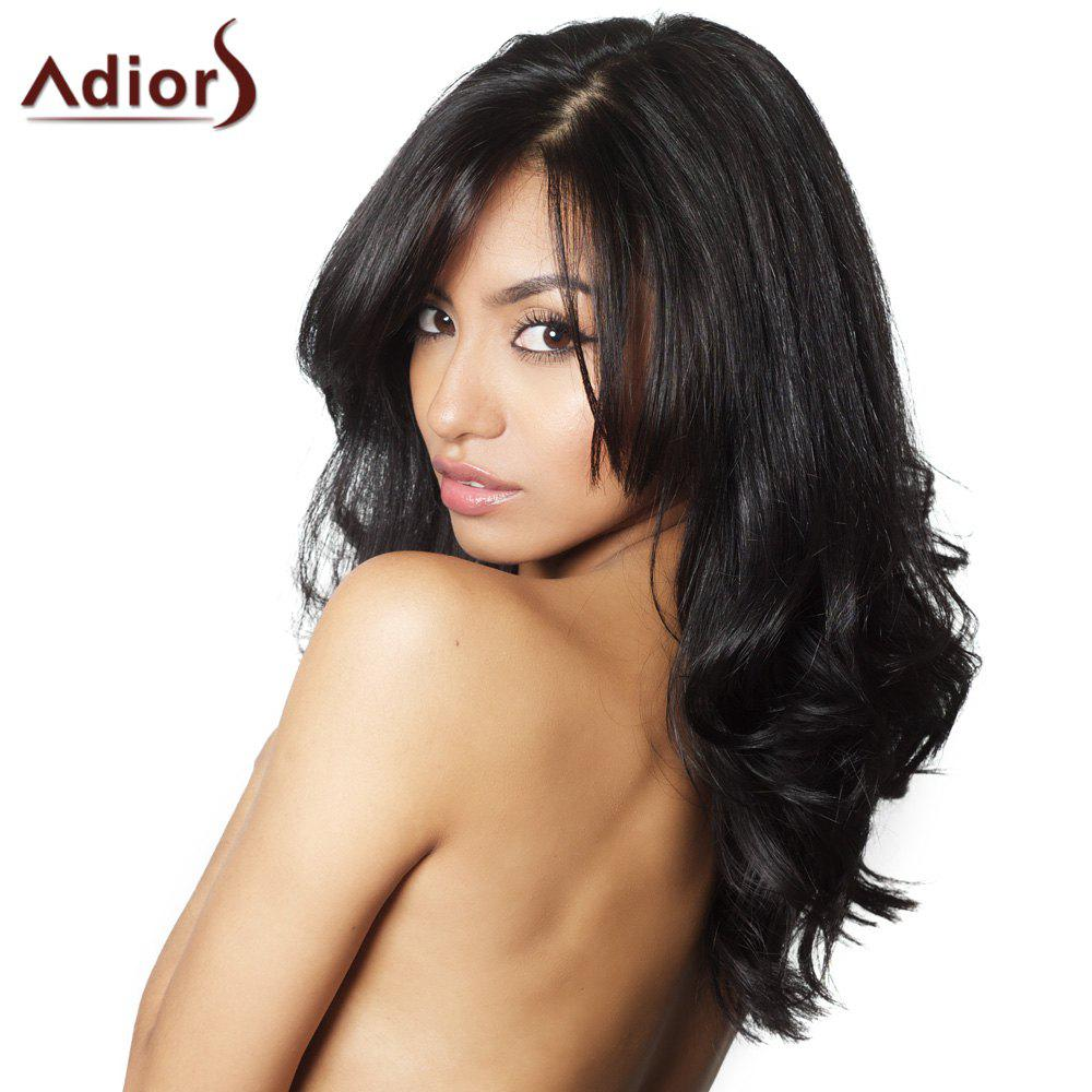 Fluffy Wave Black Refreshing Long Middle Part Synthetic Adiors Wig For Women