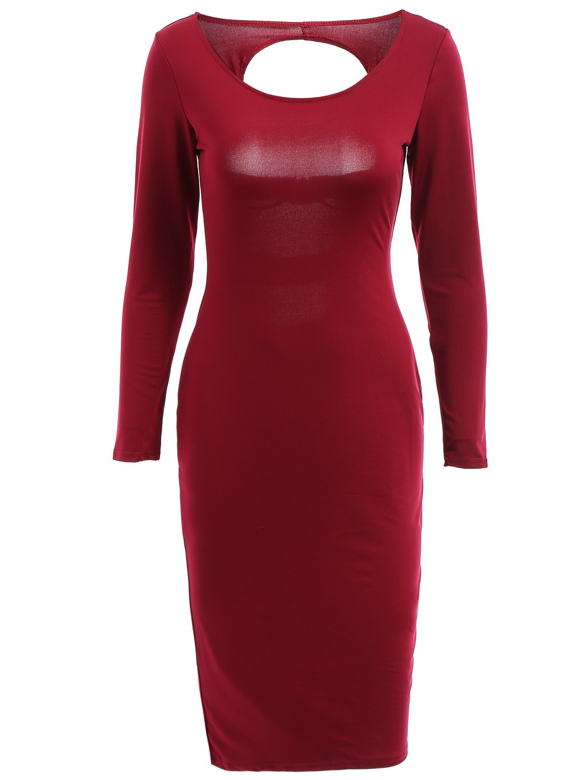 Alluring Scoop Neck Long Sleeve Cut Out Women's Bodycon Dress - WINE RED M
